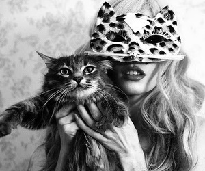 cat, woman, and mask image