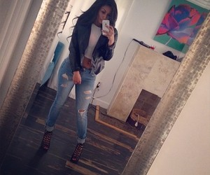girl, jeans, and pretty image