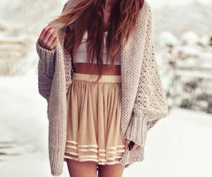 brown hair, skirt, and snow image