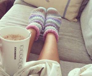socks, starbucks, and winter image