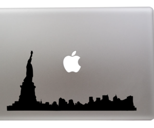 decal, macbook, and new york image