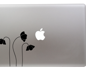 decal, macbook, and flowers image