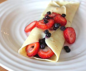 strawberry, blueberry, and pancakes image