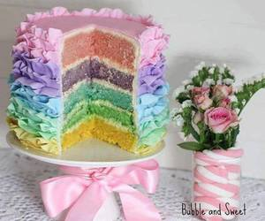 cake, rainbow, and pastel image