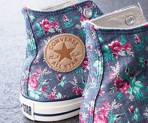 converse, floral, and shoes image