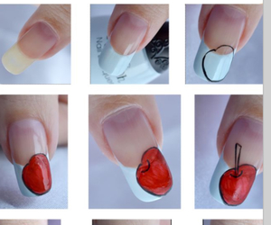 nail art, apple, and cherry image