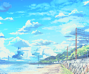 anime, beach, and scenery image