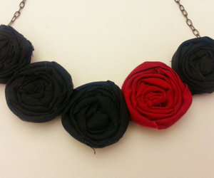 flower necklace, bib necklace, and rosette bib necklace image