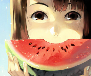 anime, watermelon, and summer image