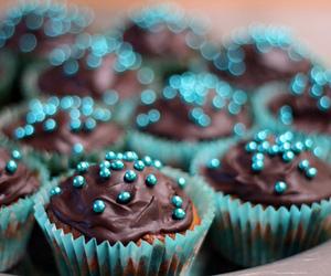 blue, cupcake, and chocolate image