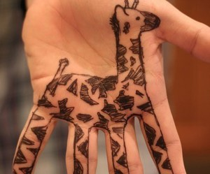 giraffe, hand, and drawing image