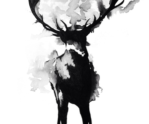 black, watercolor, and deer image