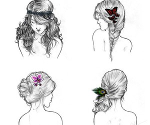 drawing, hairstyle, and fashion image