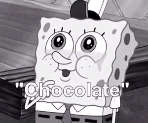 chocolate, spongebob, and black and white image