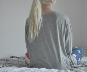 bed, clothes, and leggins image