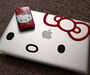 hello kitty, iphone, and laptop image