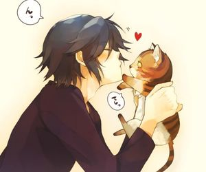 anime, cat, and boy image