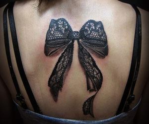 tattoo, bow, and lace image