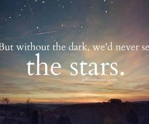 stars, quote, and dark image
