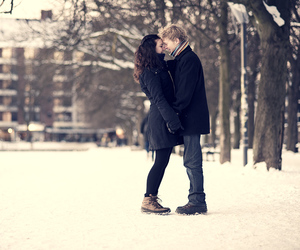 love couple, winter, and love image