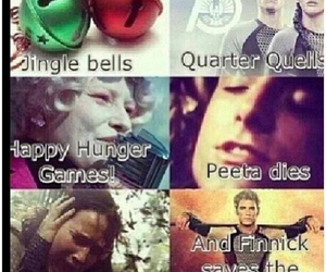 katniss, peeta, and jingle bells image