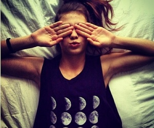 fashion, girl, and moon image