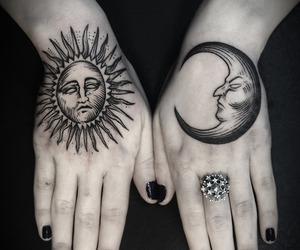 black, hands, and moon image
