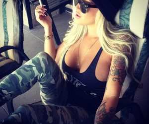 tattoo, blonde, and swag image