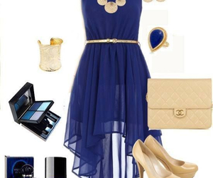 blue, dress, and outfit image