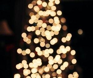 christmas tree, garland, and lights image
