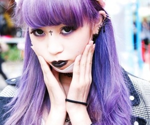 black lips, Harajuku, and purple image