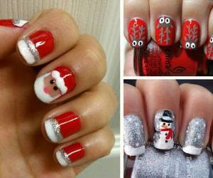 nails, christmas, and papa noel image