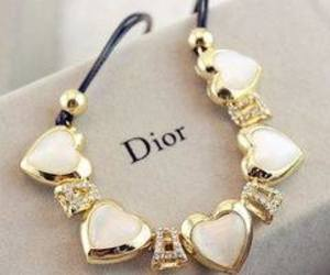 dior, gold, and heart image