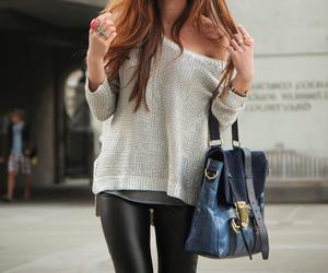 beige, leggins, and long image