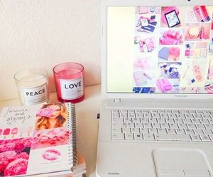 pink, candle, and laptop image