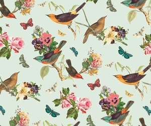 bird, flowers, and wallpaper image