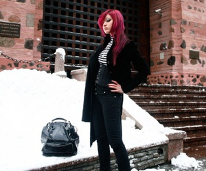 black, hair, and snow image