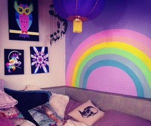 rainbow, room, and pastel goth image