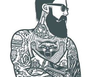 tattoo, beard, and art image