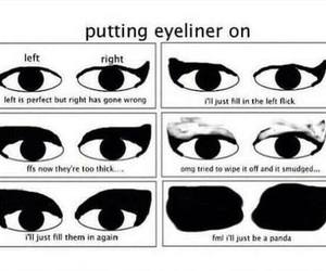 eyeliner, funny, and makeup image