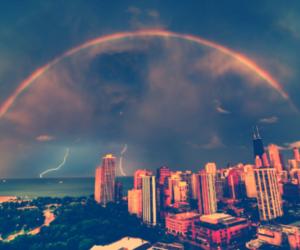 city, rainbow, and sky image