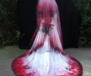 dress, bride, and blood image