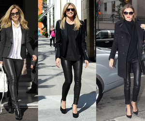 pantalon cuir noir image
