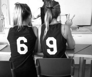 :3, b&w, and girls image