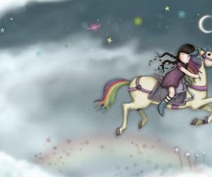 rainbow, horse, and stars image