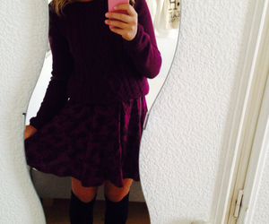 knee socks, outfit, and skirt image