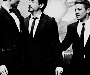 robert downey jr, jeremy renner, and Avengers image