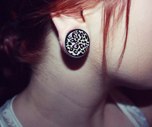 gauges, stretched ear, and girl image