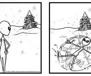 alien, playing, and snow image