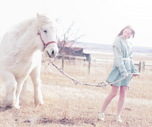 girl, horse, and flowers image